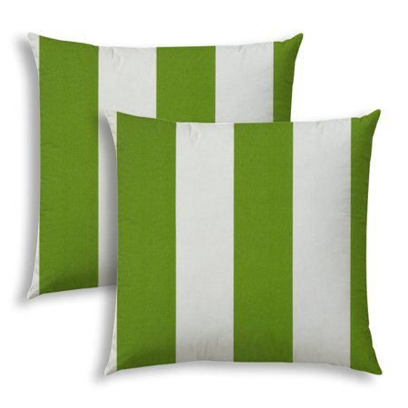 CABANA LARGE Green Indoor/Outdoor Pillows - Sewn Closure (Set of Two)