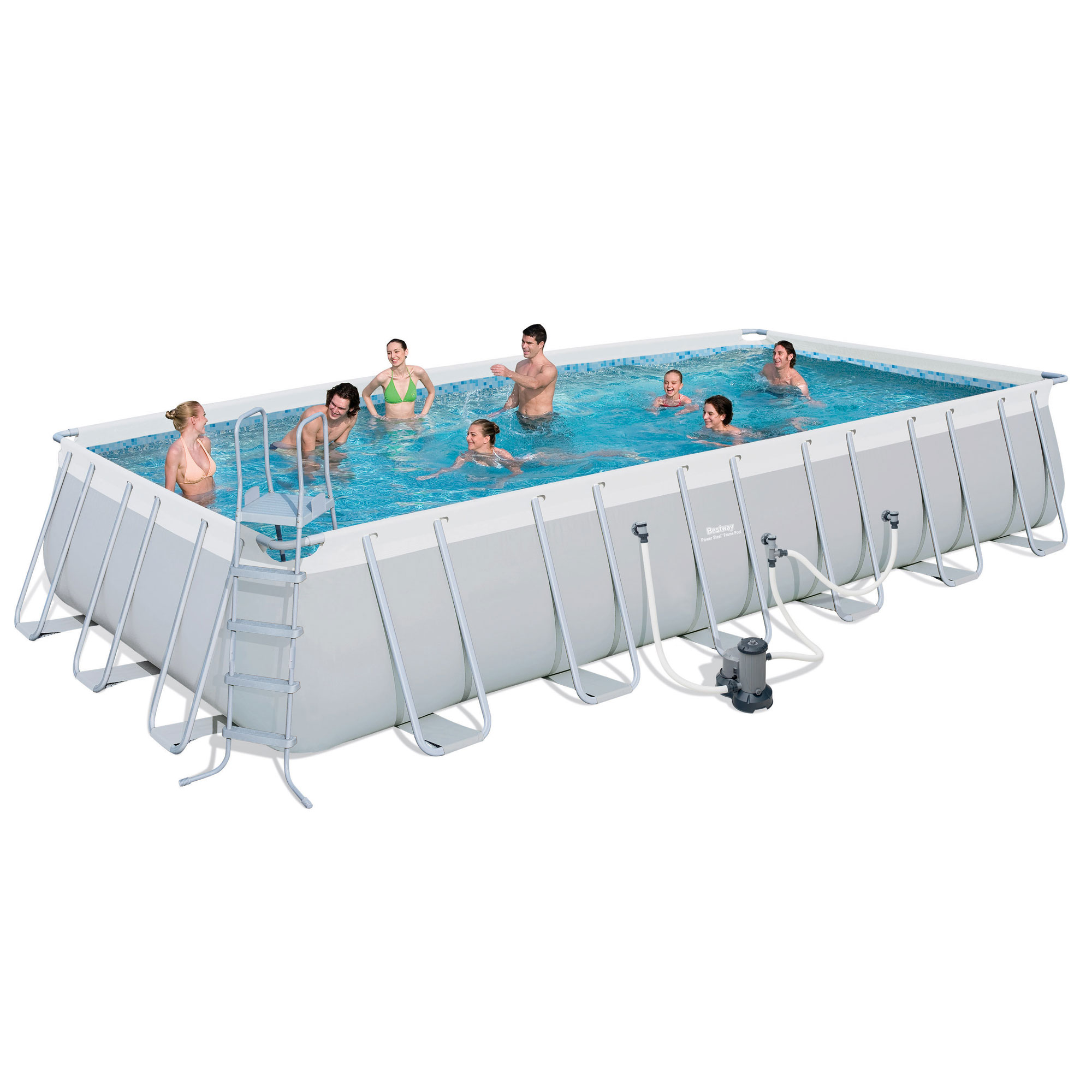 "Click here to buy Bestway 24'x12'x52"" Rectangular Frame Above Ground Swimming Pool Set 