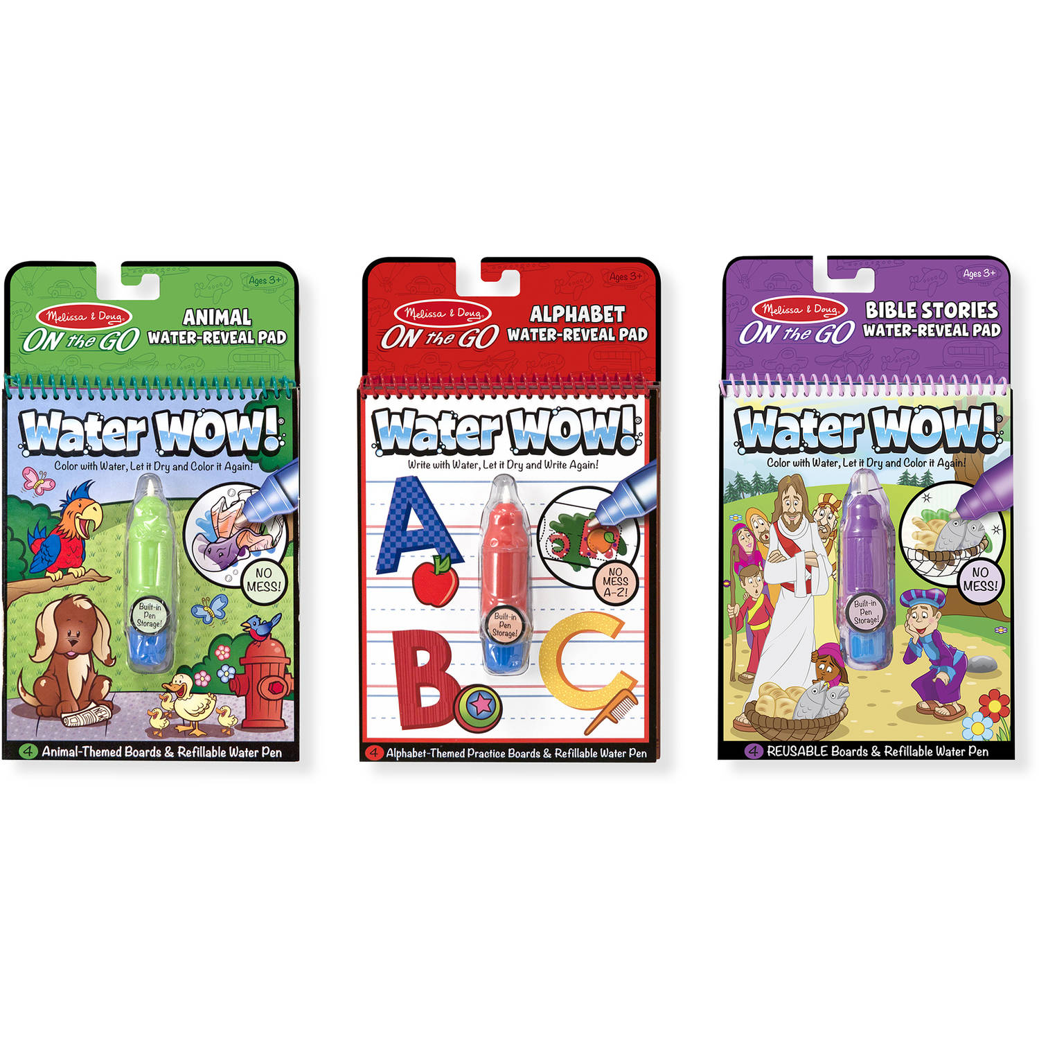 Melissa and Doug On the Go Water Wow! Activity Pads Set, Animals, Alphabet and Bible Pads