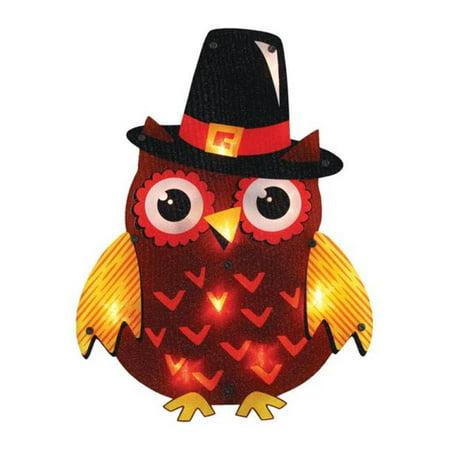 82484 Pilgrim Owl Lighted Halloween Fall Decoration](Fall Door Decorations For School)