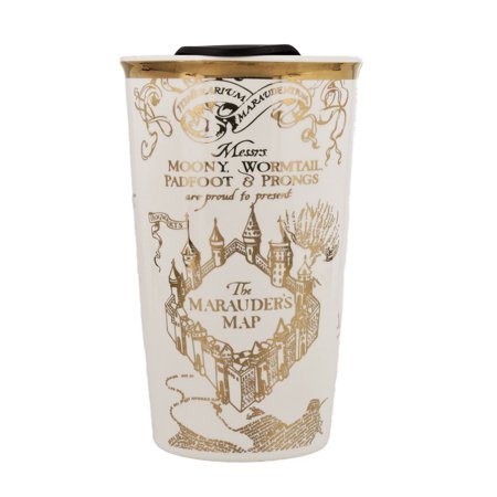 Harry Potter Travel Coffee and Tea Mug - Ceramic White and Gold with Marauder's Map Design and Gold Plated Finish, 12oz ()