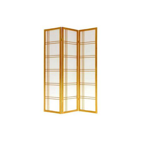 Honey Finish Double Cross Rice Paper Folding Shoji Screen