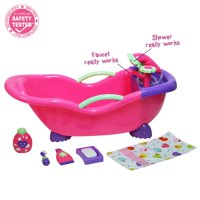 """JC Toys For Keeps! Baby Doll Bathtub and Accessories with Real Working Shower Fits Most Dolls Up to 17"""""""