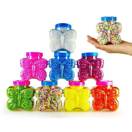 8 Color Jars Styrofoam Beads for Homemade Slime 10 Cups in Size Styrofoam Foam Balls Polystyrene DIY Gift Slime Supplies](Bulk Styrofoam Balls)