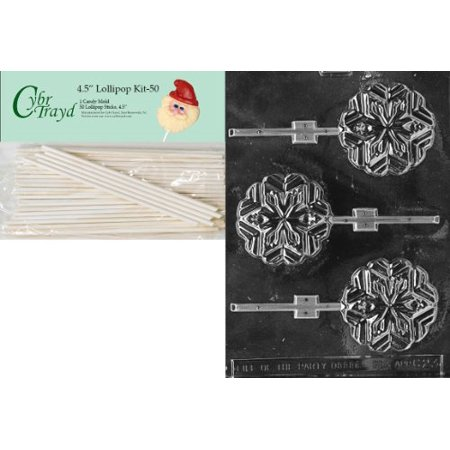 Cybrtrayd 00045St50-C023 Snowflake Lolly Christmas Chocolate/Candy Mold with 50 4.5-Inch Lollipop Sticks