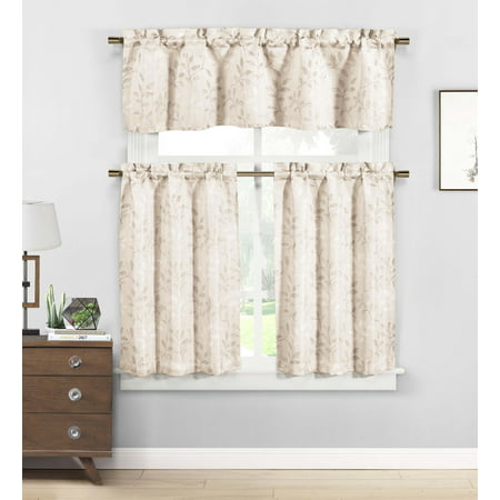 Cafe Window Curtains (3 piece Cafe Tiers Window Curtain Set: Botanical Design, One Valance, Two Tiers (Taupe and Beige) )