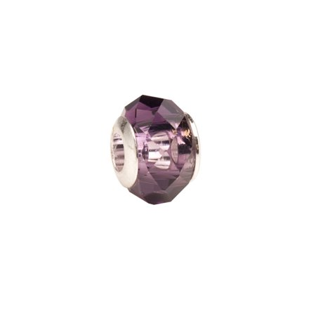Purple Faceted Beauty Large Hole Beads Murano Lampwork European Glass Crystal Charms Beads Spacers Fit Pandora Troll Chamilia Carlo Biagi Zable Snake Chain Charm Bracelets 9.5x13.5mm 4pcs ()