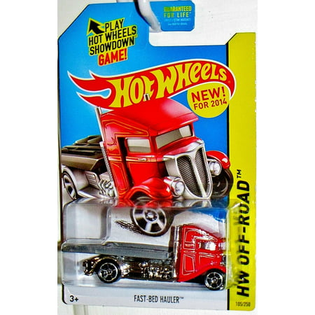2014 Hot Wheels Hw Off-Road Fast Bed Hauler - Red - [Ships in a Box!], DIE-CAST WITH PLASTIC PARTS By