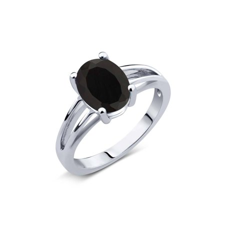 2.00 Ct Oval Black Onyx 925 Sterling Silver Ring