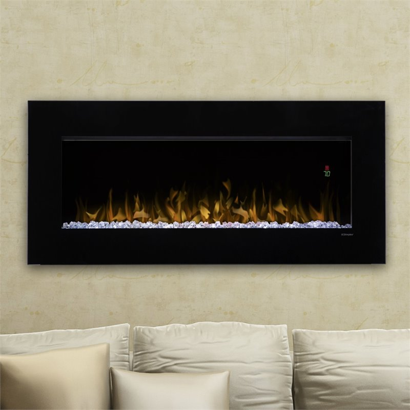 "Dimplex Nicole 43"" Electric Fireplace Wall-Mounted With Acrylic Ember Bed"