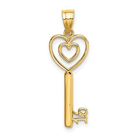 14k Yellow Gold Key and Heart Sweet 16 Charm Pendant