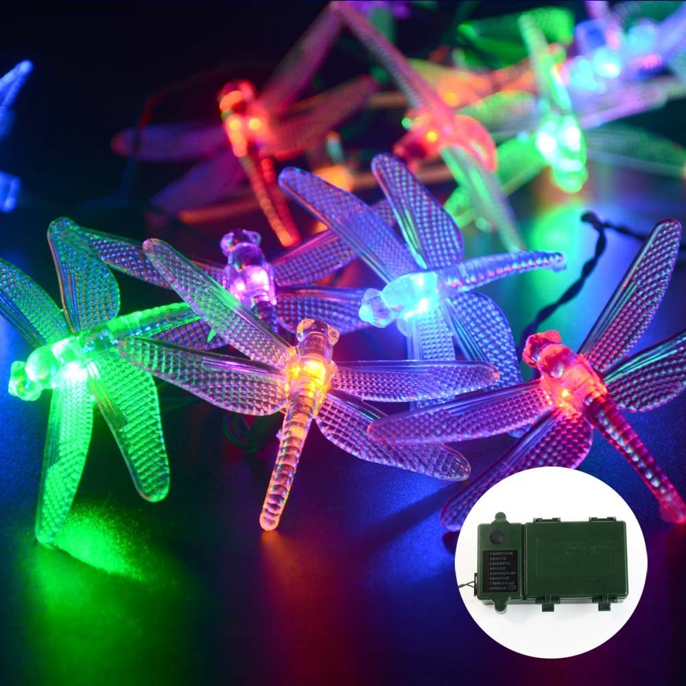 2Pack Qedertek LED Christmas lights 20 LED Battery Dragonfly String Lights for Home,Patio,Lawn,Garden,Party,Wedding,and Christmas(Multicolor)