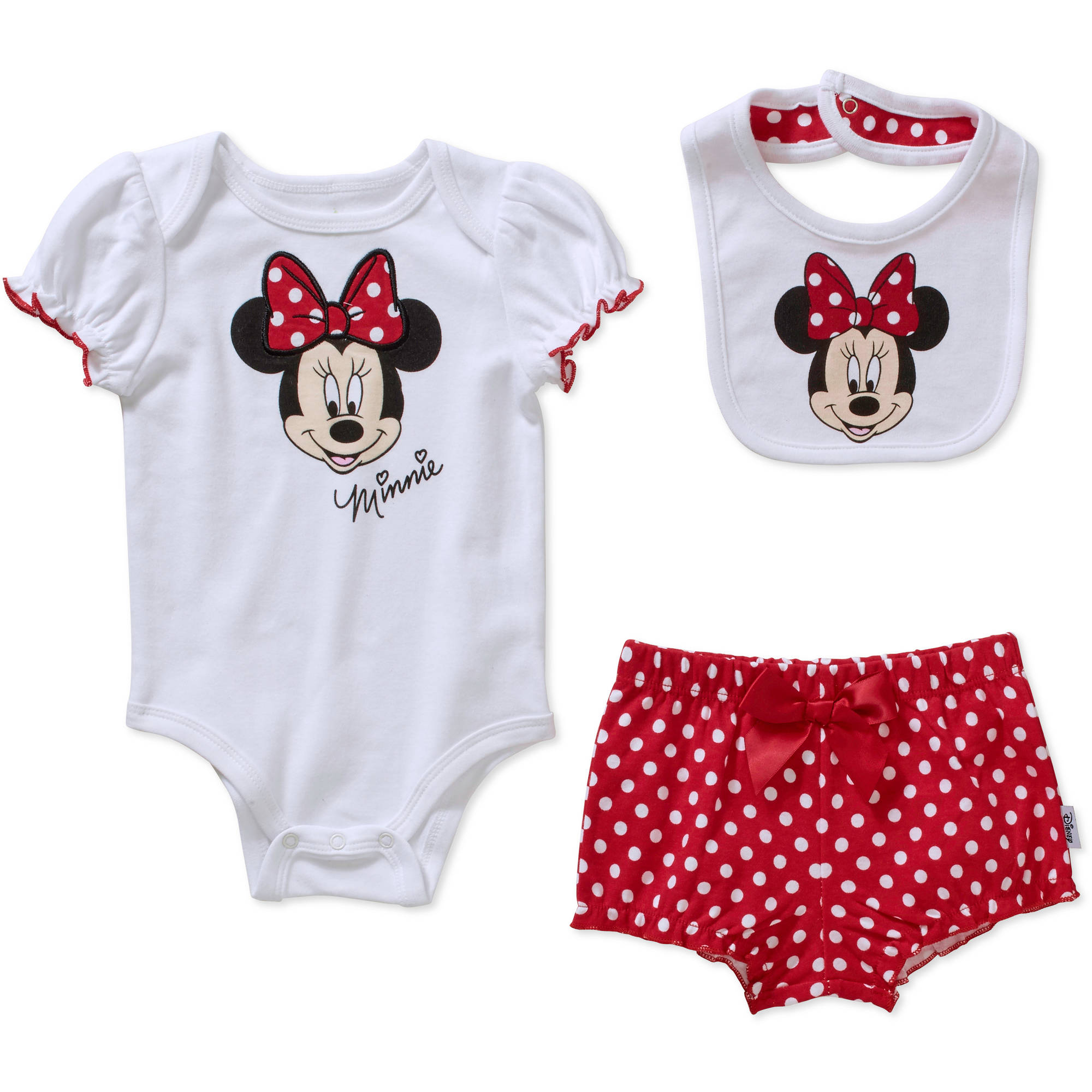 Minnie Mouse Newborn Baby Girls' Bodysuit, Diaper Cover and Bib 3-Piece Set