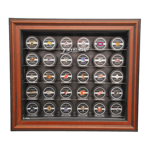 Caseworks International NHL Thirty Puck Cabinet Style Display Case in Mahogany