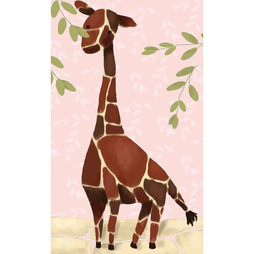 Oopsy Daisy - Gillespie the Giraffe - Pink Canvas Wall Art 24x40, Meghann O'Hara