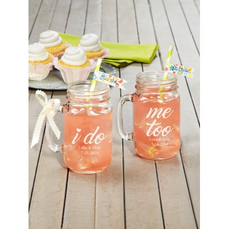 Personalized I Do, Me Too Mason Jars