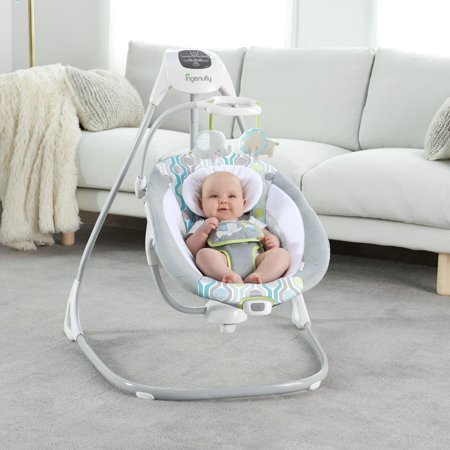 Ingenuity SimpleComfort Cradling Plug-In Swing with Soothing Vibrations- Everston
