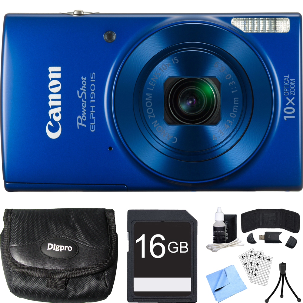 Canon PowerShot ELPH 190 IS Blue Digital Camera 16GB Card Bundle includes Camera, 16GB Memory Card, Reader, Wallet, Case, Mini Tripod, Screen Protectors, Cleaning Kit and Beach Camera Cloth