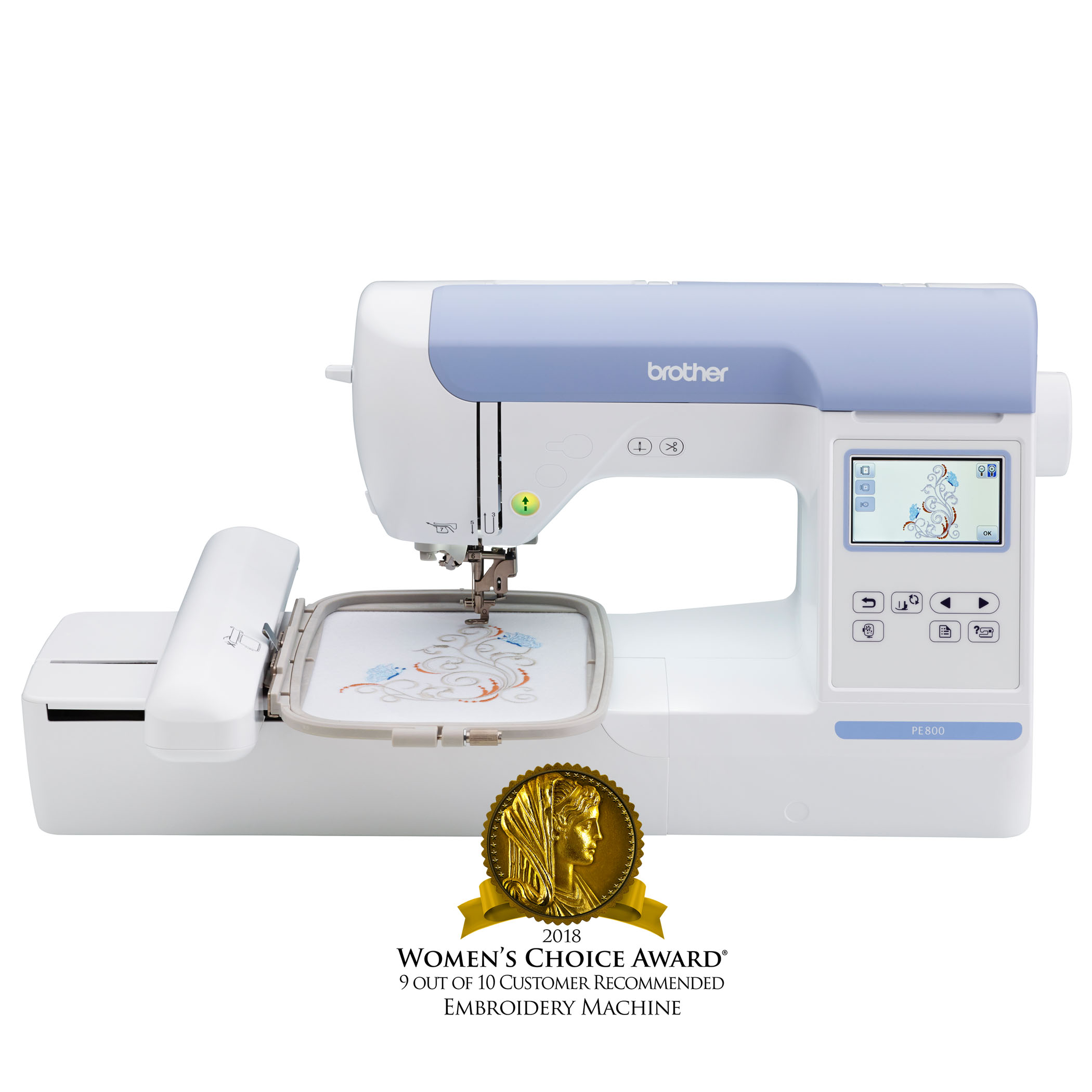 "Brother PE800, 5""x7"" Embroidery-only machine with color touch LCD display"
