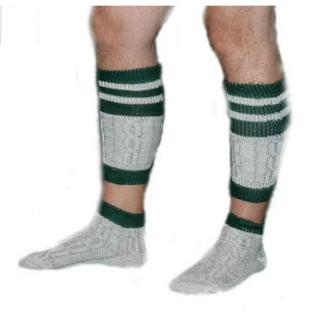 1 Piece Long Embroidered German Lederhosen Wool Socks Cream / - Lederhosen Socks