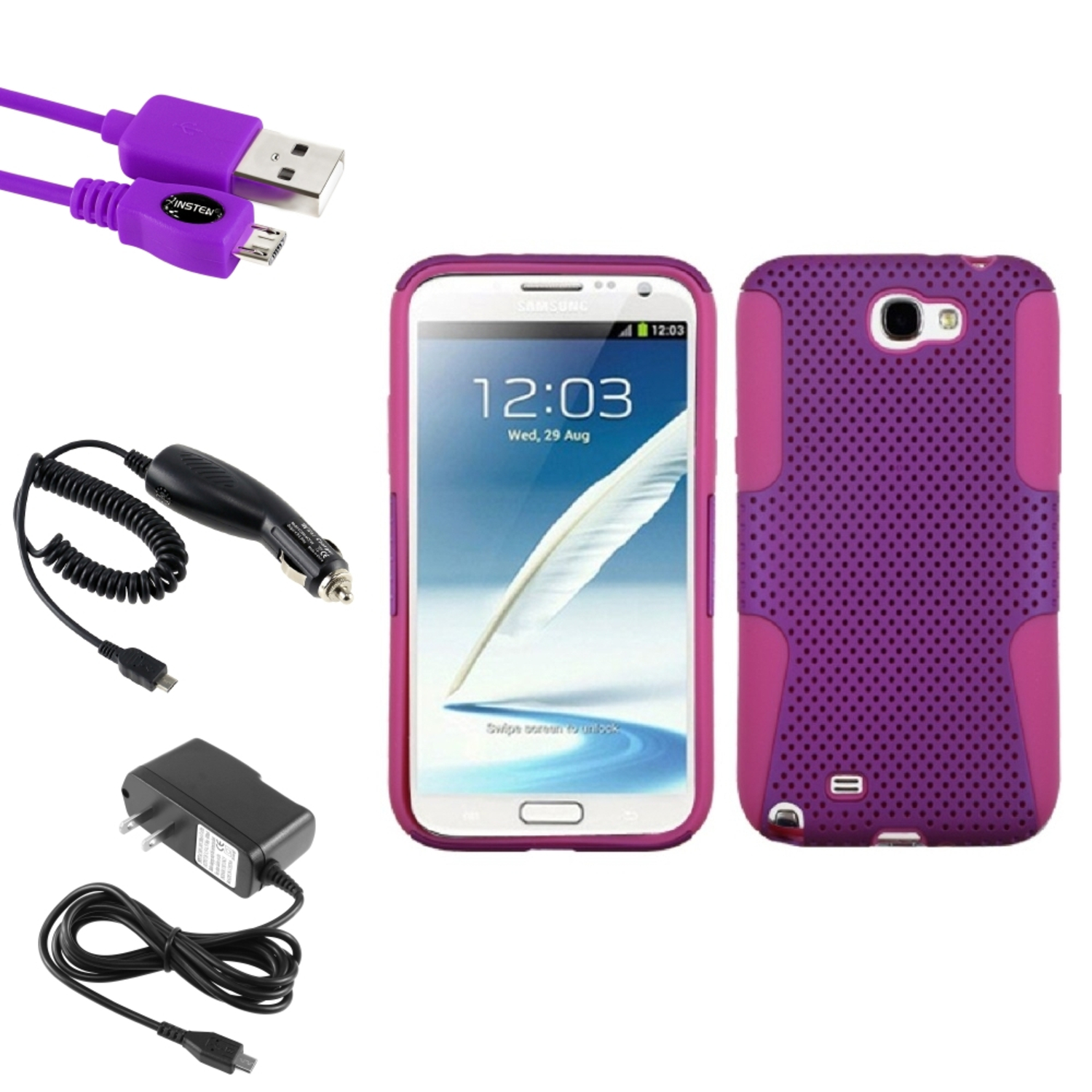Insten Hot Pink/Purple Hybrid Case Charger USB For Samsung Galaxy Note 2