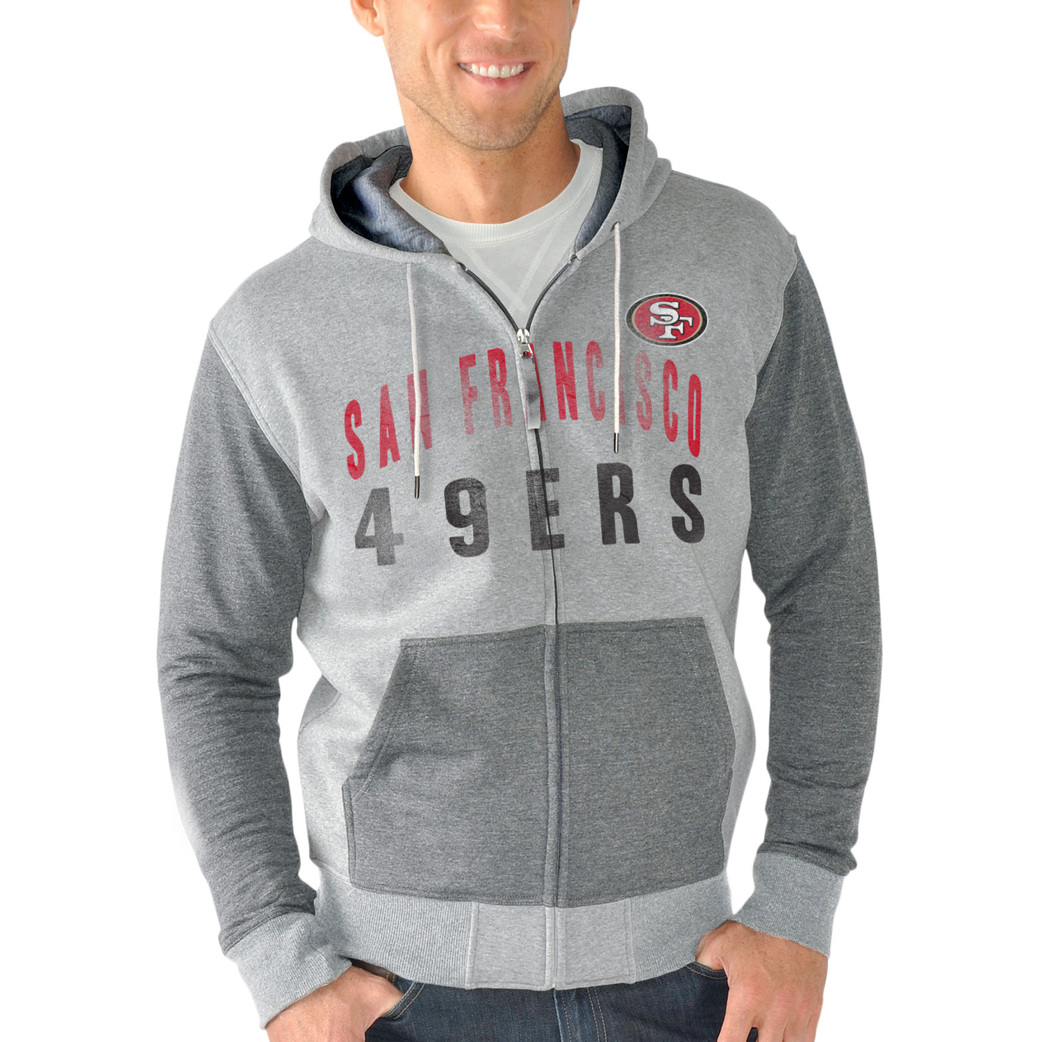 San Francisco 49ers G-III Sports by Carl Banks Safety Tri-Blend Full-Zip Hoodie - Heathered Gray