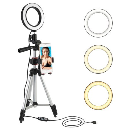 360°Mini 5500K Photo Studio 5.7 inches LED Camera Ring 3 Light Dimmable Phone Video Lamp with Tripod Selfie Stick Rod Rechargeable Lamp