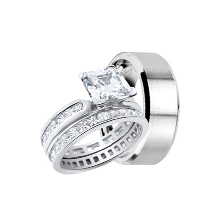 Cz Engagement Wedding Ring Set For Him And Her Couples Bands For