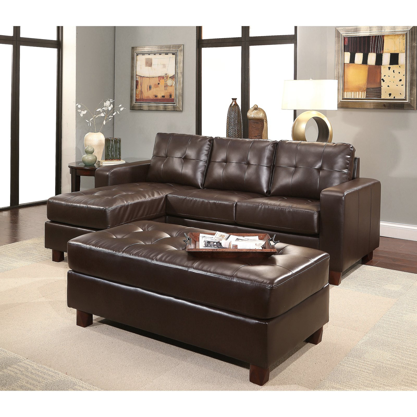 Abbyson Taylor Leather Reversible Sectional And Ottoman Walmart Com Walmart Com