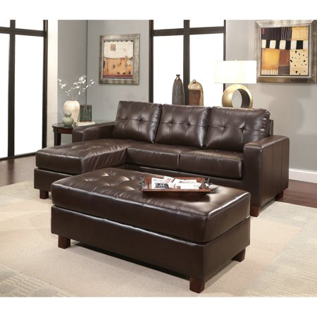 Abbyson Taylor Leather Reversible Sectional and Ottoman ()
