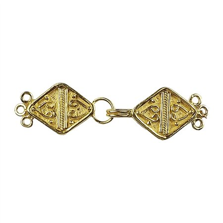CG-236 18K Gold Overlay Multi Strand Clasp With 3 Holes 3 Strand Hook Clasp