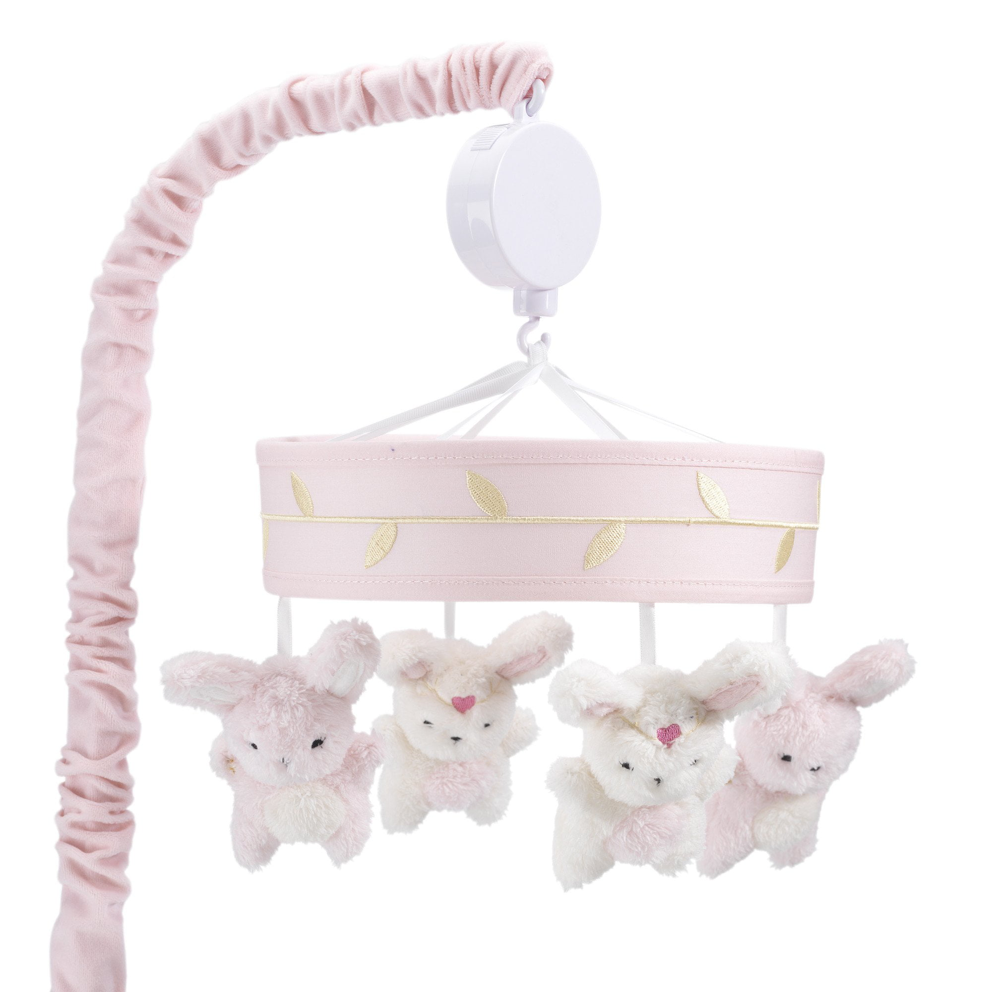 Lambs & Ivy Confetti Pink Gold White Bunny Musical Baby Crib Mobile by Lambs %26 Ivy