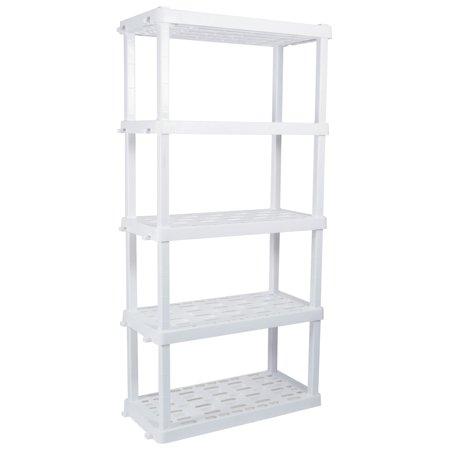 Hyper Tough Heavy Duty 5-tier Interlocking Shelf (White) - Weight Capacity of up to 150 lbs/Shelf