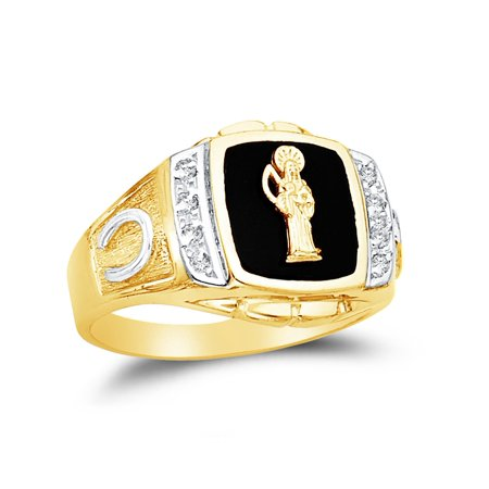 14k Yellow Gold Black Onyx Men's La Santa Muerte Saint of Death Horse Shoe Ring , Size 10