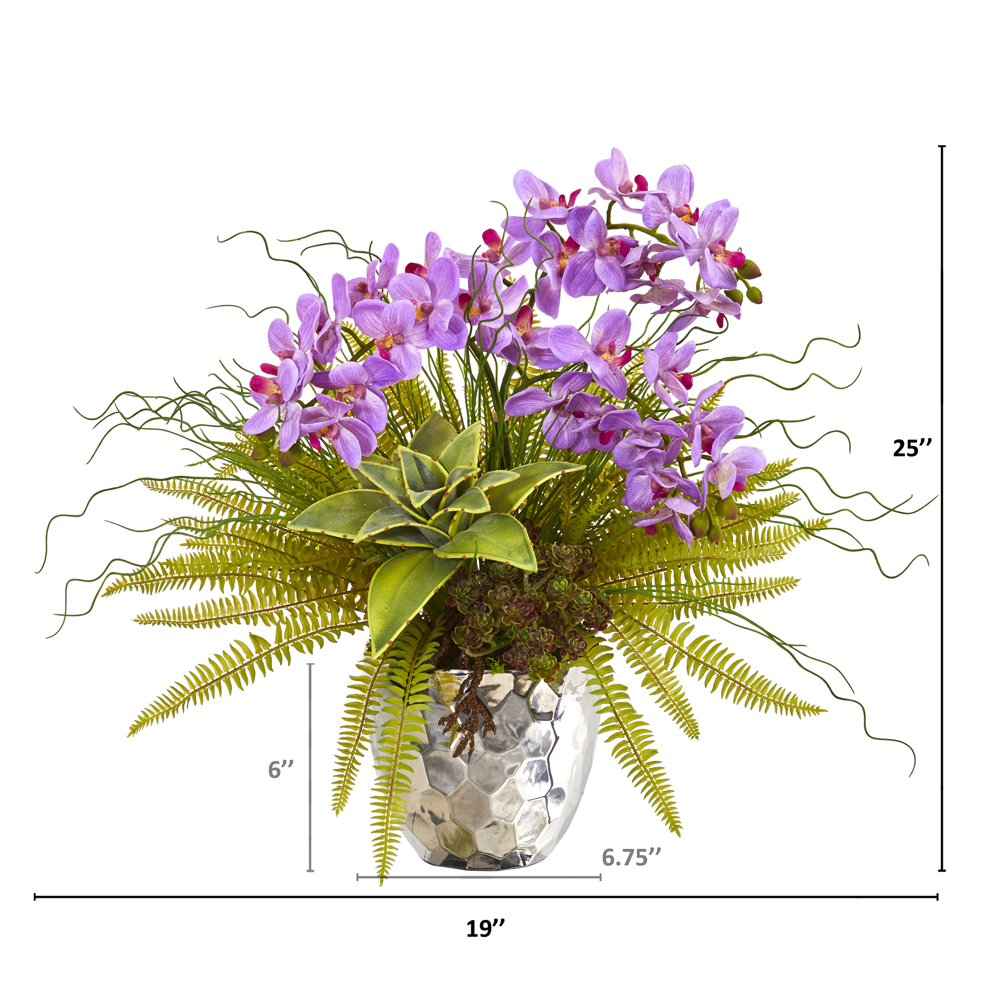 Nearly Natural 25 Phalaenopsis Orchid Succulent And Fern Artificial Arrangement In Silver Vase Walmart Com Walmart Com