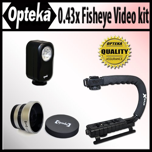 Opteka Extreme Action Video Photographer's Kit (Includes the Opteka 0.43x Super Fisheye Lens, X-GRIP Camcorder Handle, & 3 Watt Video Light) for Sony DCR-DVD650, DCR-SR68, SR68/L, SR68/R, SR88, SX83