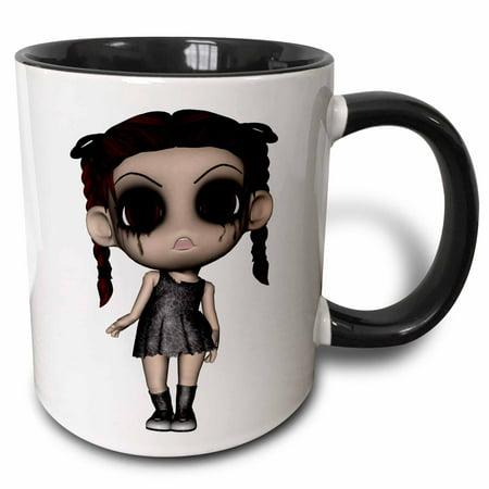 3dRose Halloween Creepy Brunette Girl Doll - Two Tone Black Mug, 15-ounce