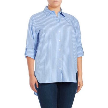 Plus Chambray Cotton Button-Front Top