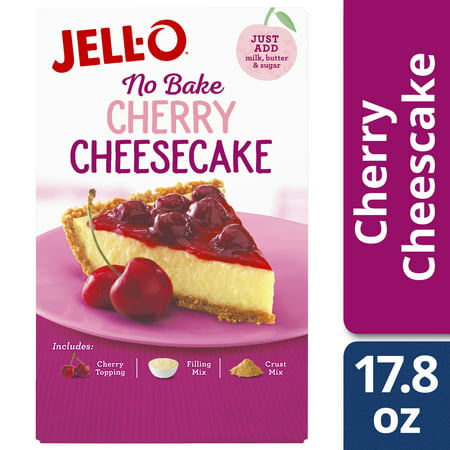 (3 Pack) Jell-O No Bake Cherry Cheesecake Mix, 17.8 oz Box