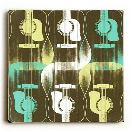 "ArteHouse Decorative Wood Sign ""Guitar Criss Cross"" by Artist Stella Bradley, 18"" x 18"", Planked Wood"