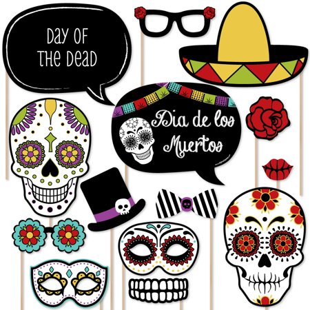 Day Of The Dead - Dia de los Muertos Photo Booth Props Kit - 20 Count