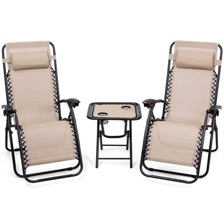 Ghp Outdoor 3 Pcs Beige All Weather Fade Resistant Zero Gravity Chairs Table Set