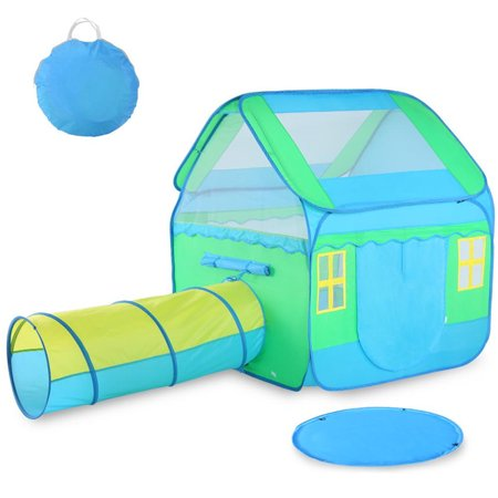 Large Kids Play Tent,Children Pop-Up Playhouse Tent (3pc) includes Playhouse, Tunnel and Playmat, Indoor Outdoor, with Anchors and Carrying Case- Best Gift for Boys