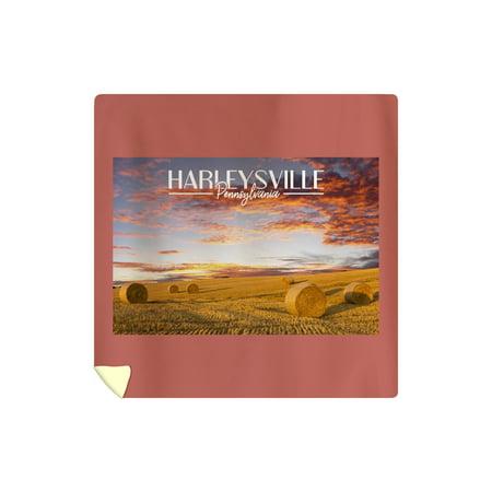 Harleysville, Pennsylvania - Hay Rolls - Lantern Press Photography (88x88 Queen Microfiber Duvet Cover)