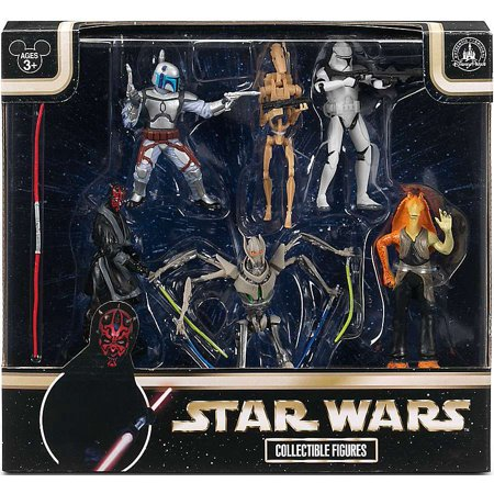 Star Wars Maul, Jango Fett, Grievous, Battle Droid, Clone Trooper & Jar Jar Binks Collectible Figures 6-Pack - Clone Wars Plo Koon