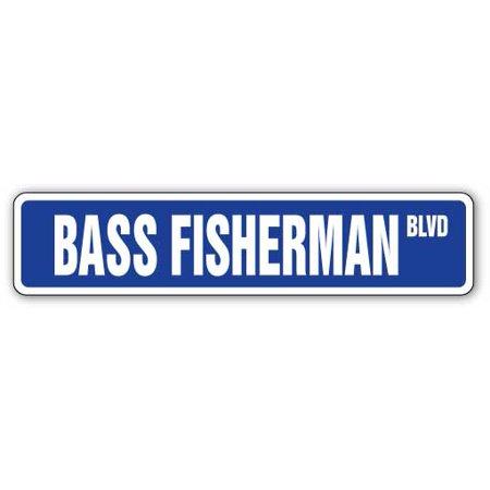 BASS FISHERMAN Aluminum Street Sign fish fishing boat rod lover   Indoor/Outdoor   18