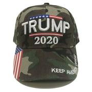 Trump 2020 - Keep America Great 3D Embroidery American Flag Baseball Cap - Camo
