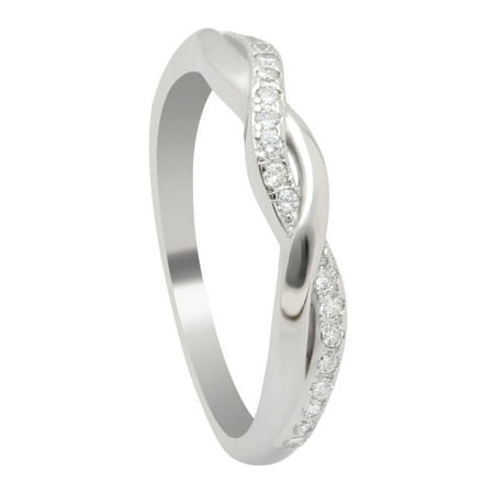 - Queena Twisted Sterling Silver Anniversary Wedding Band Ring- Ginger Lyne Collection