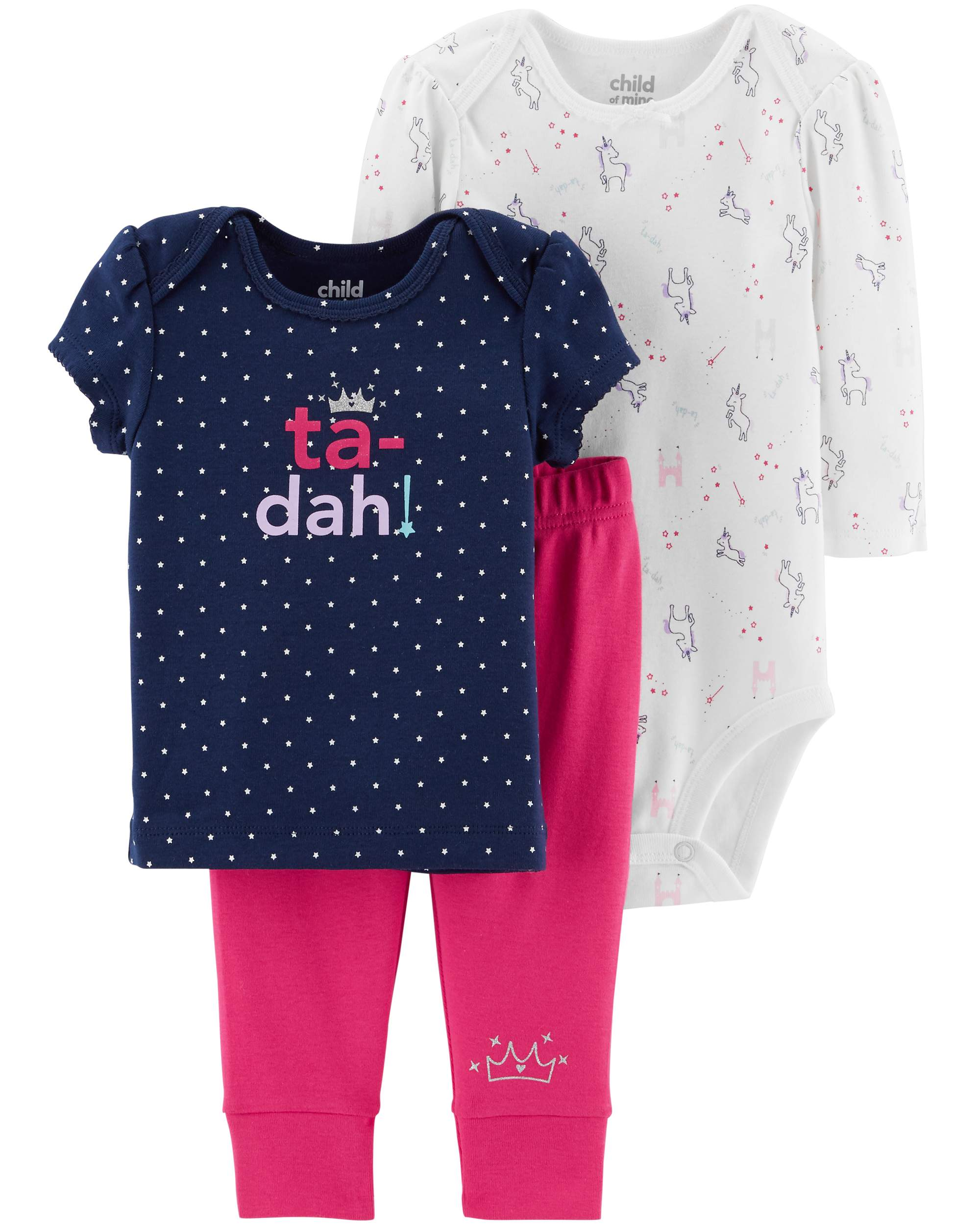 Long Sleeve Bodysuit, T-Shirt & Pants, 3pc Outfit Set (Baby Girls)