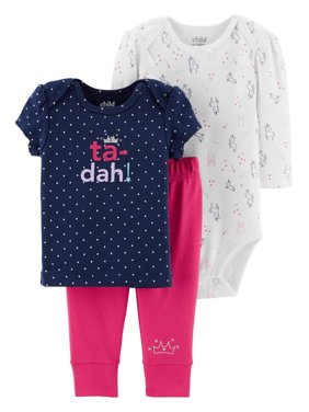 192f4c6e7b72 Product Image Child Of Mine By Carter's Long Sleeve Bodysuit, T-Shirt &  Pants, 3pc